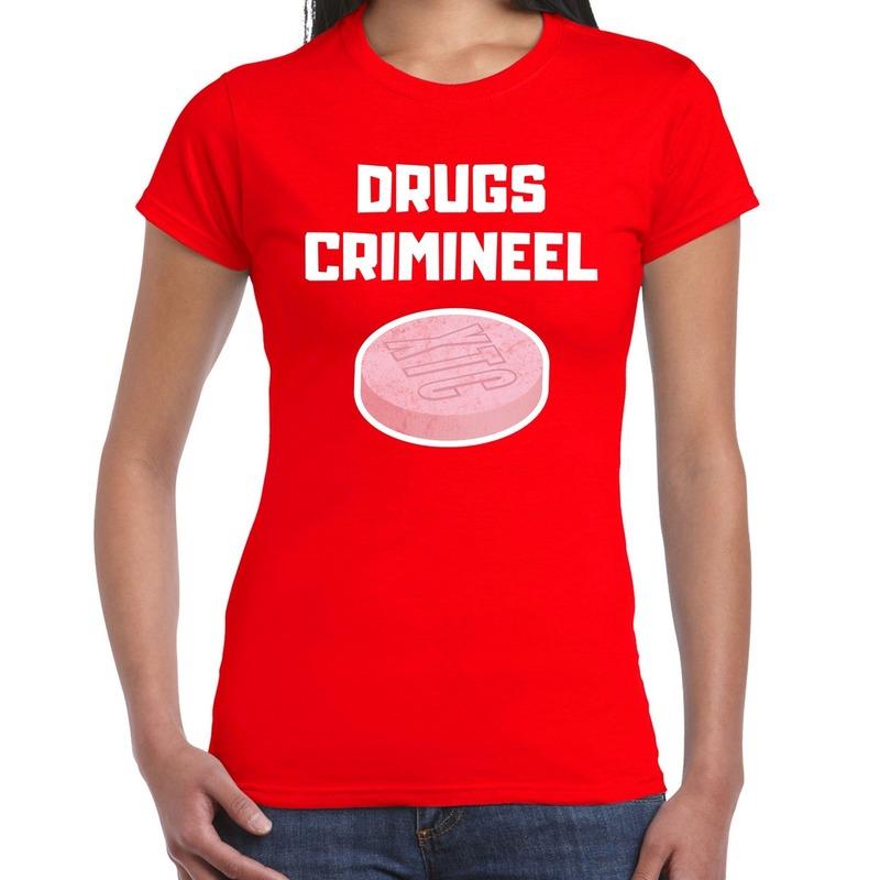 Drugs crimineel carnaval verkleed shirt rood voor dames