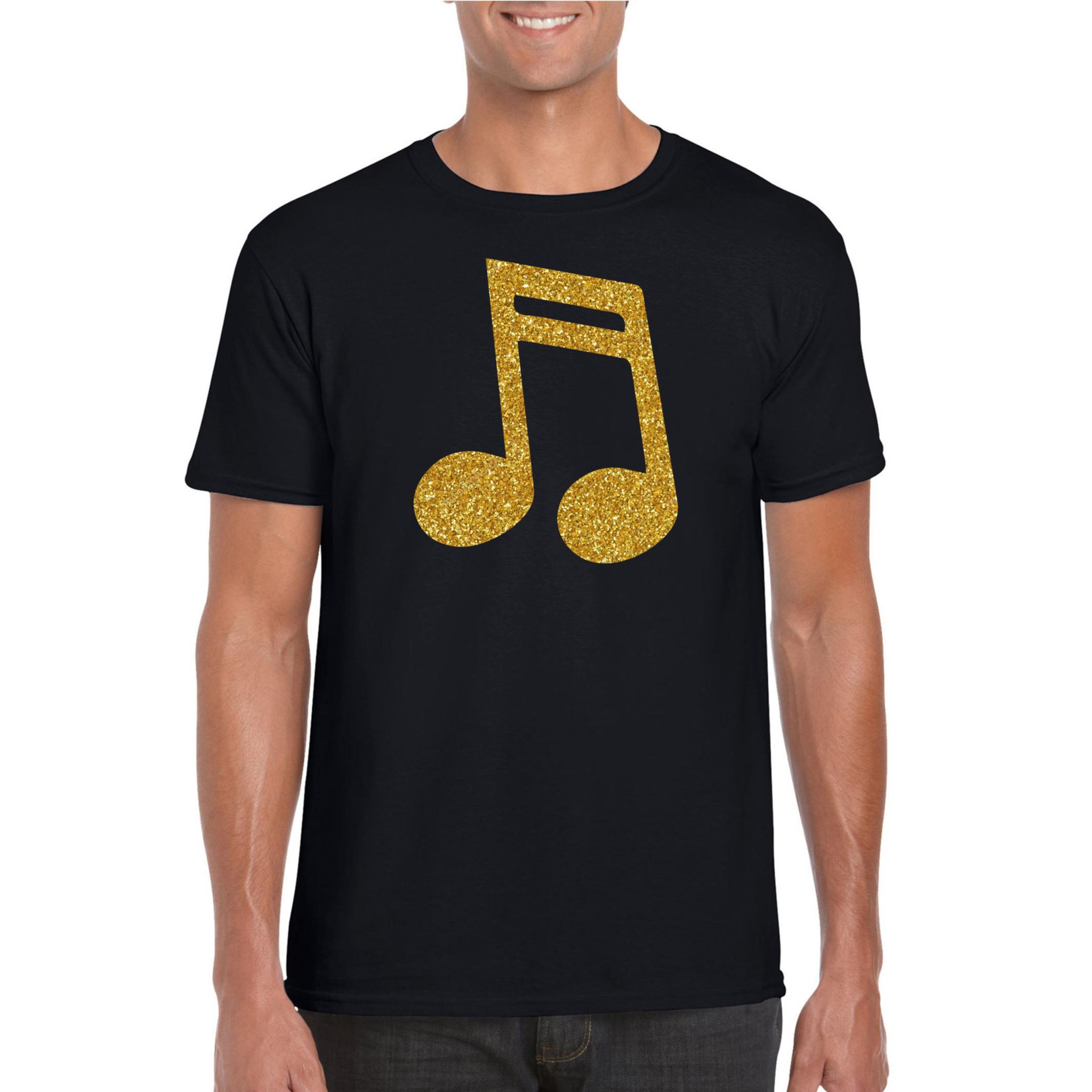 Gouden muziek noot t-shirt zwart voor heren