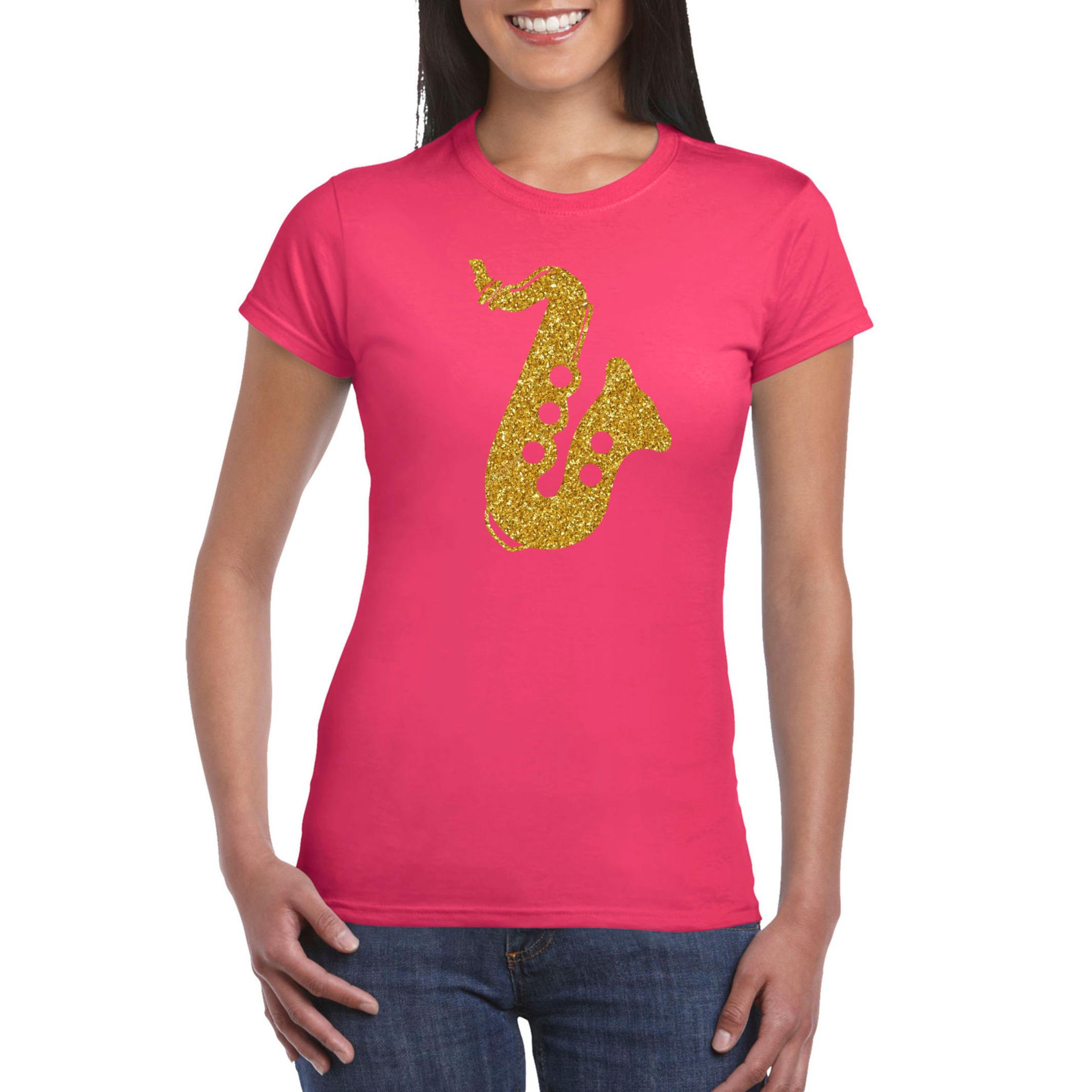 Gouden muziek saxofoon t-shirt roze voor dames - saxofonisten outfit