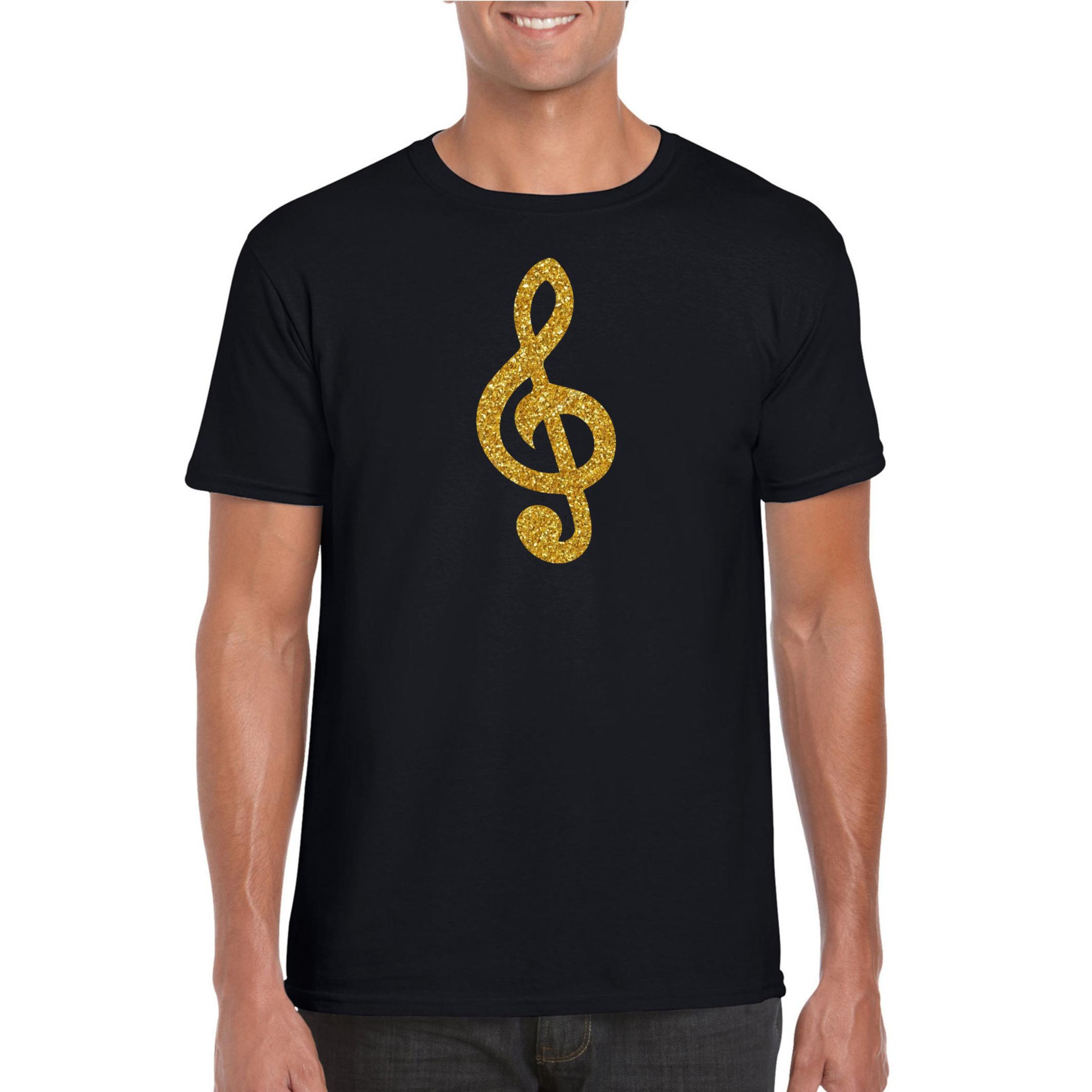 Gouden muzieknoot G-sleutel t-shirt zwart voor heren