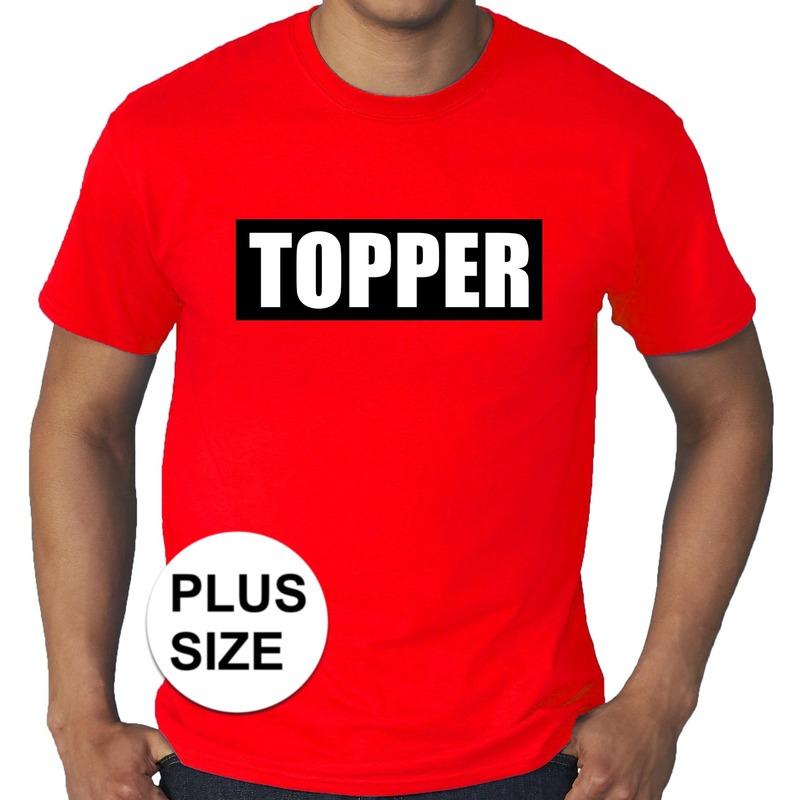 Grote maten rood t-shirt heren met tekst Topper in zwarte balk