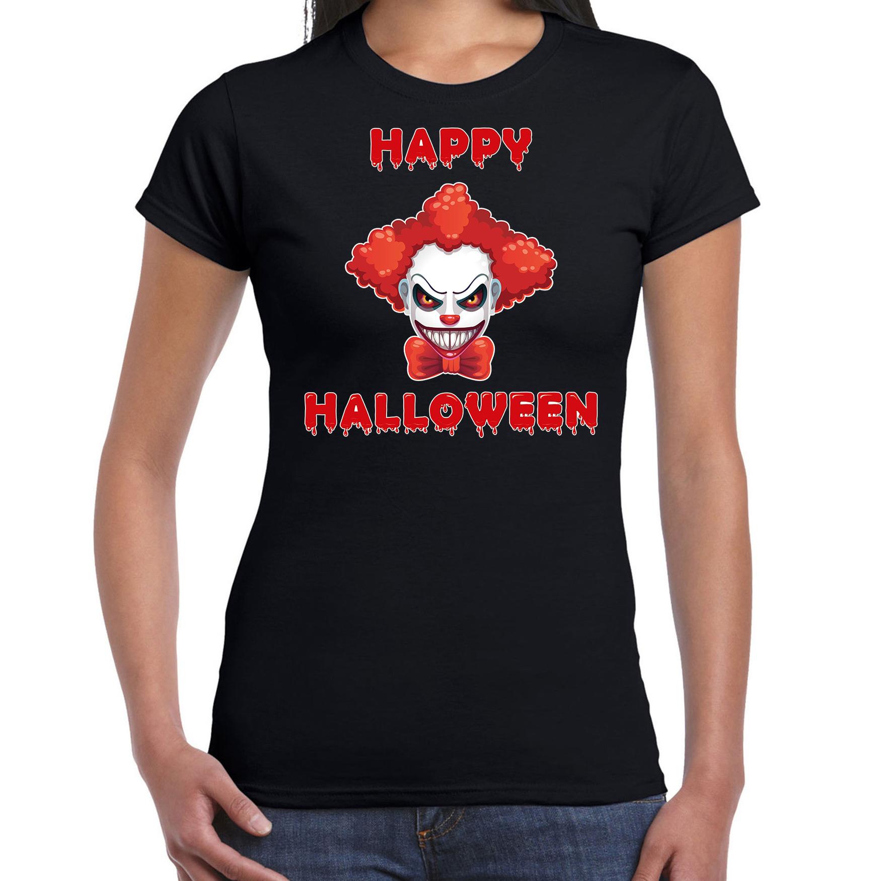 Halloween clown rood horror shirt zwart voor dames