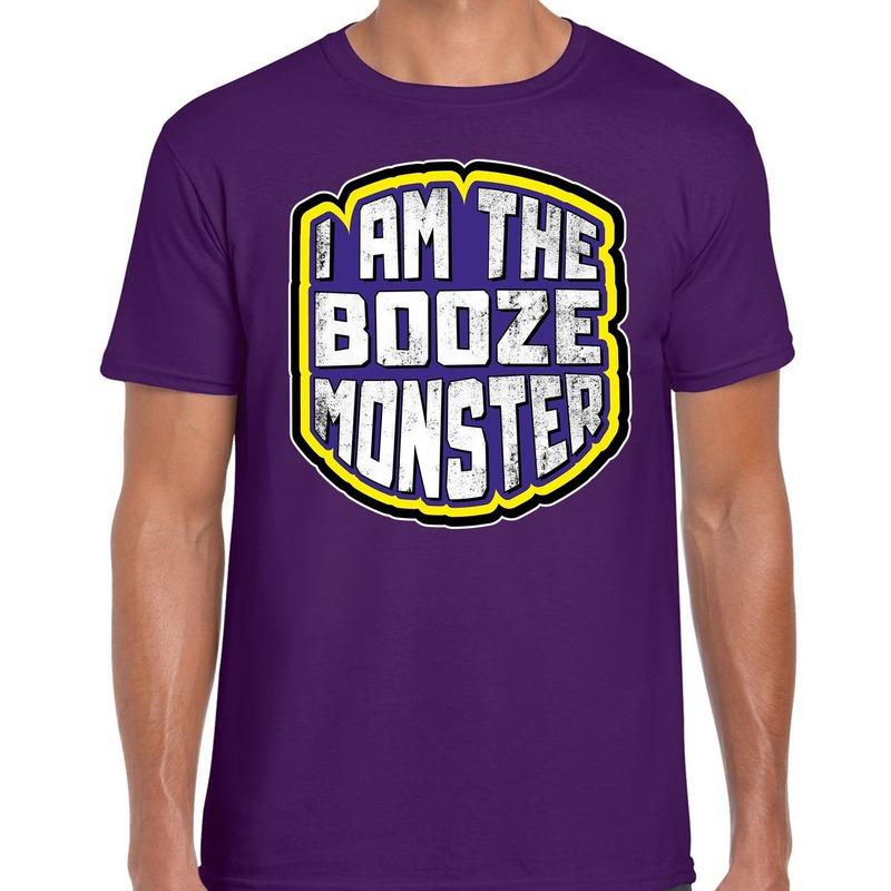 Halloween drankmonster/booze monster horror shirt paars voor heren