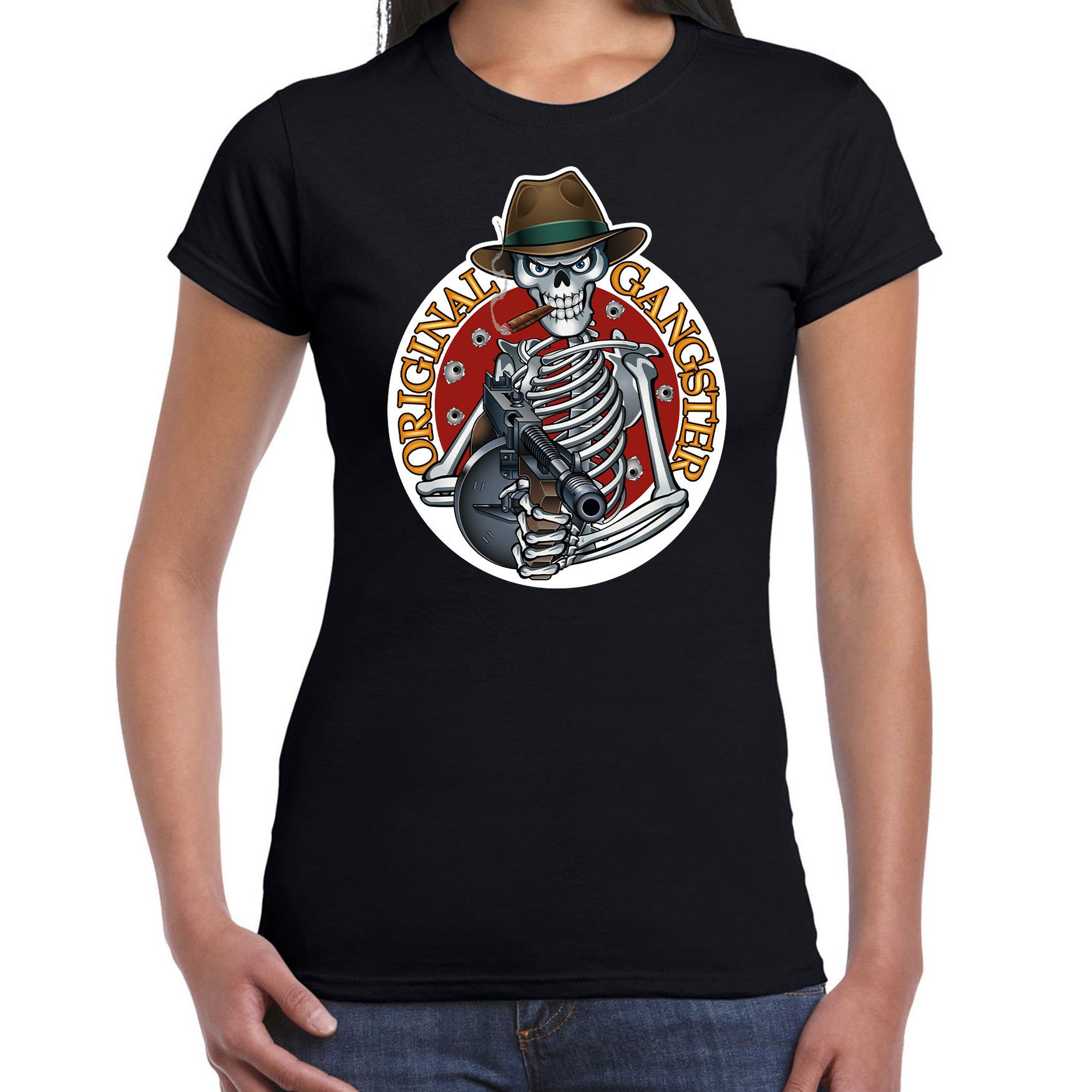 Halloween gangster skelet horror shirt zwart voor dames