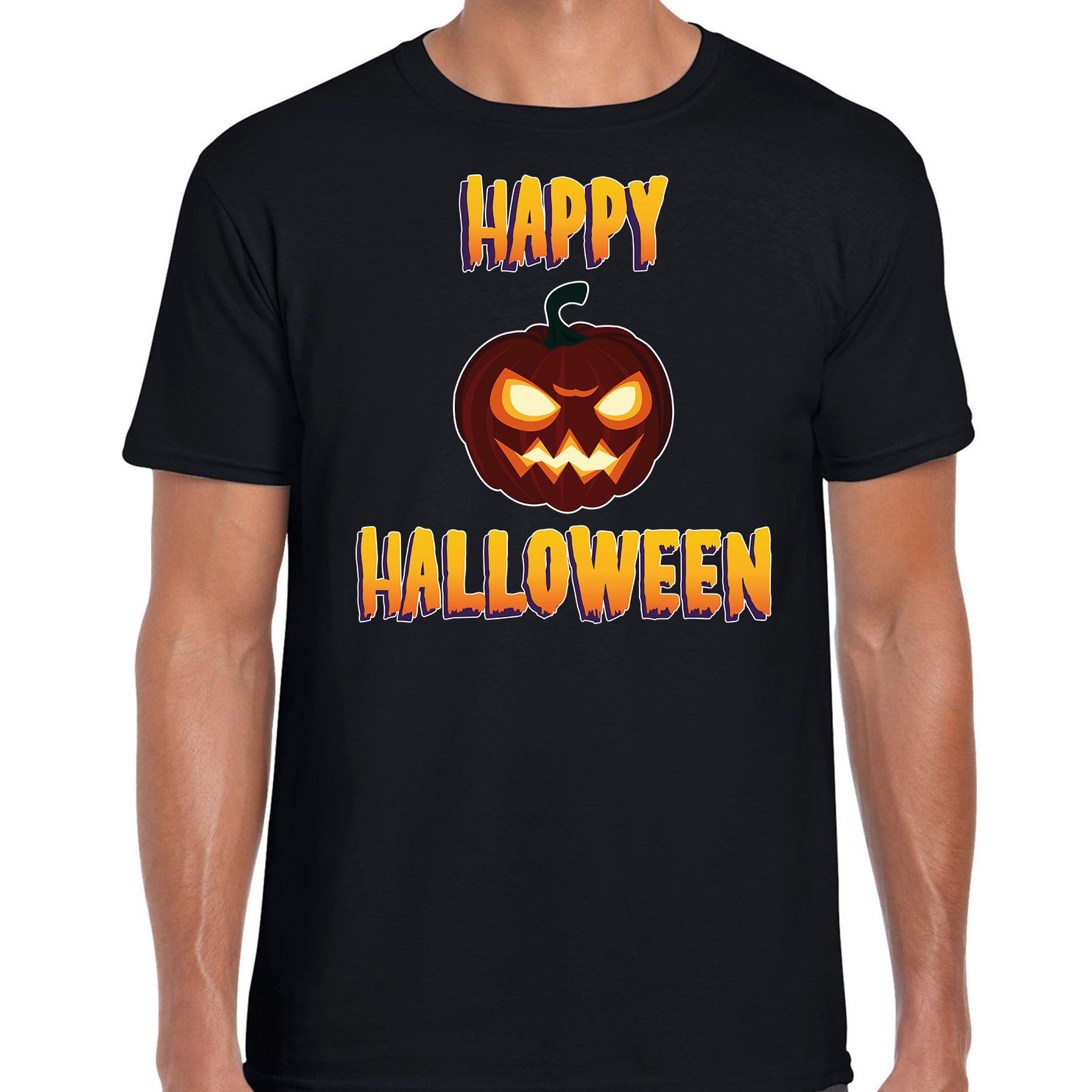Halloween pompoen horror shirt zwart voor heren
