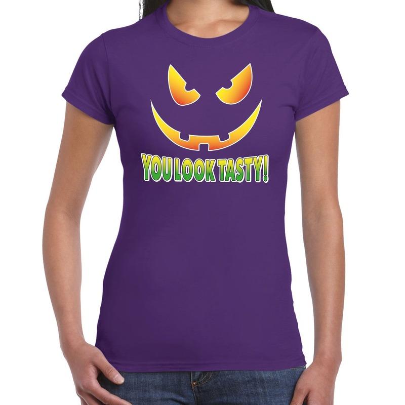 Halloween You look tasty horror shirt paars voor dames