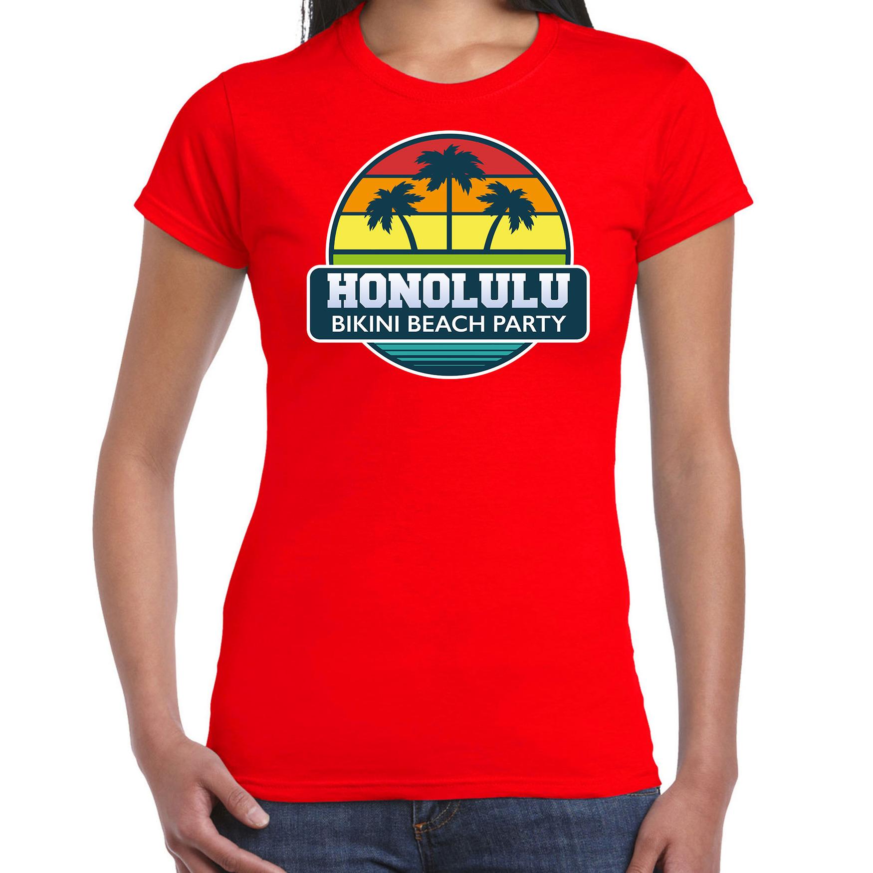 Honolulu bikini beach party shirt beach - strandfeest vakantie outfit - kleding rood voor dames