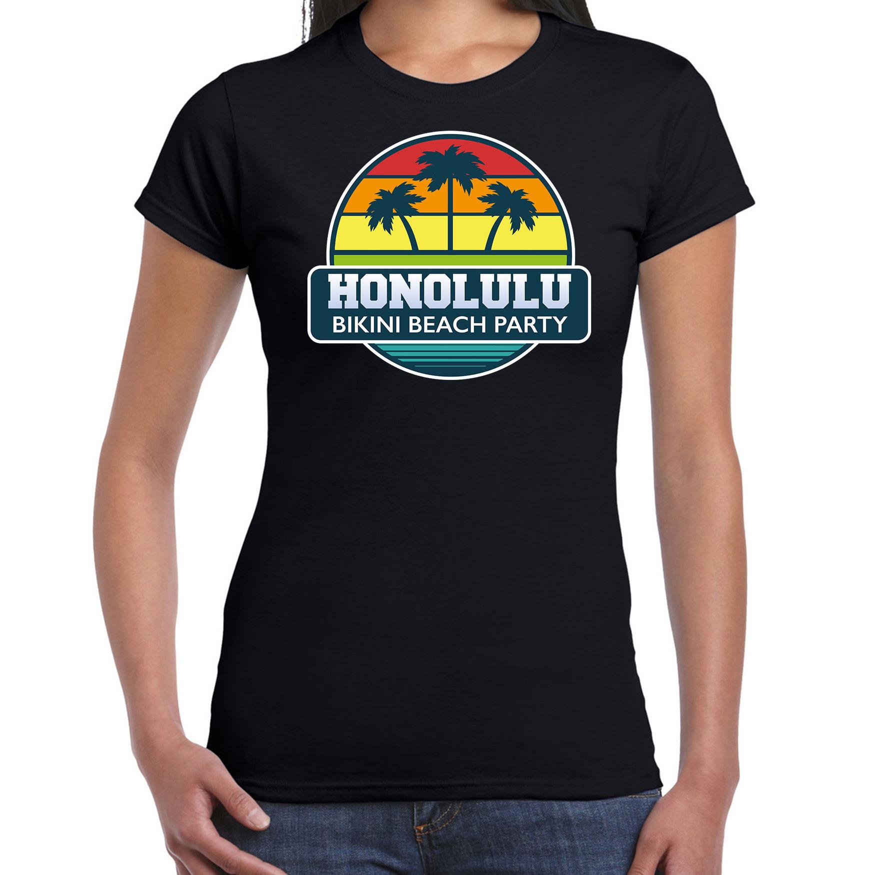 Honolulu bikini beach party shirt beach - strandfeest vakantie outfit - kleding zwart voor dames
