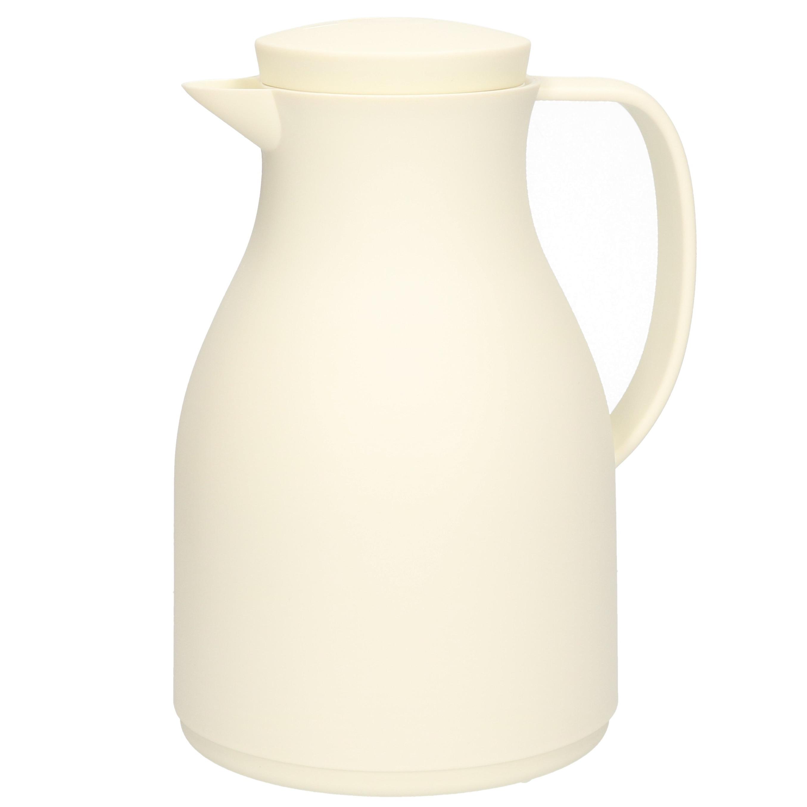 Isoleerkan/koffiekan wit 1 liter met drukknop -