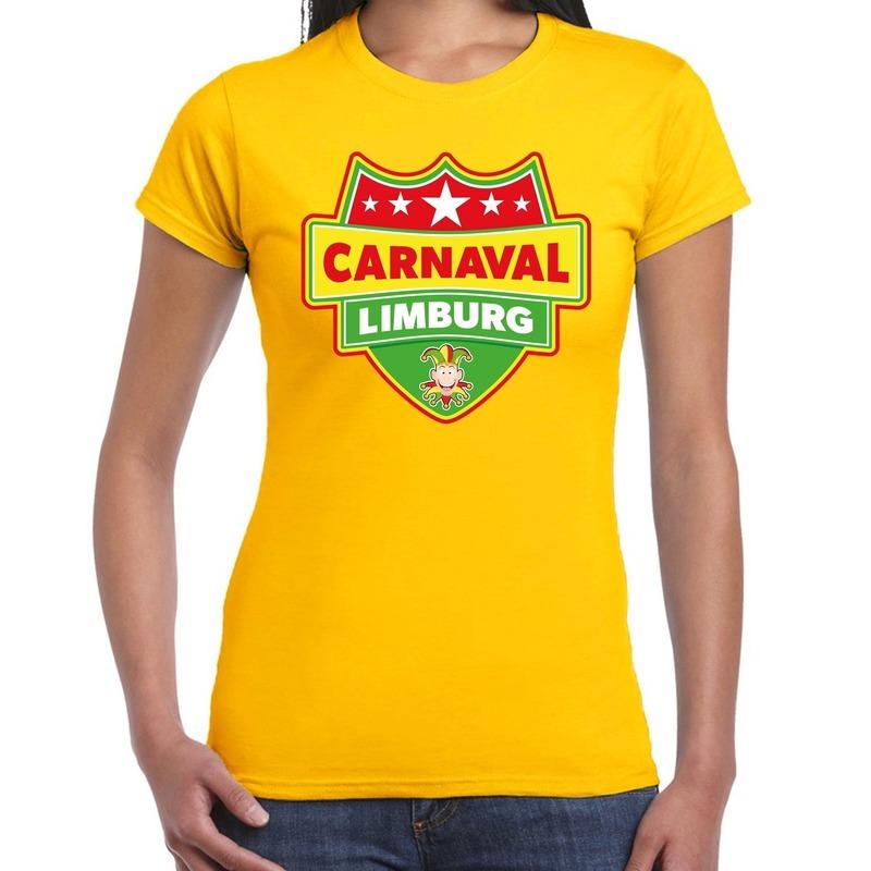 Limburg verkleedshirt voor carnaval geel dames