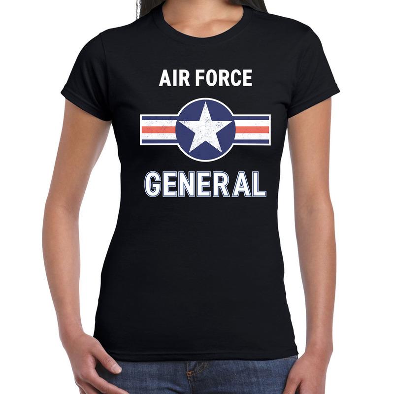 Luchtmacht piloot - generaal carnaval verkleed shirt zwart voor dames