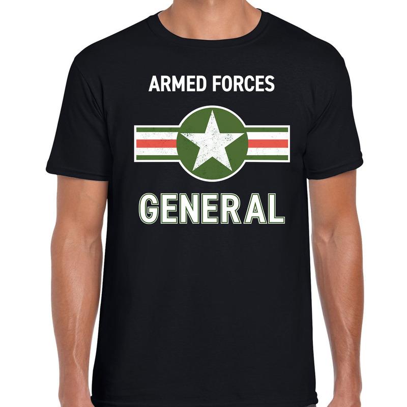 Militair - generaal carnaval verkleed shirt zwart voor heren
