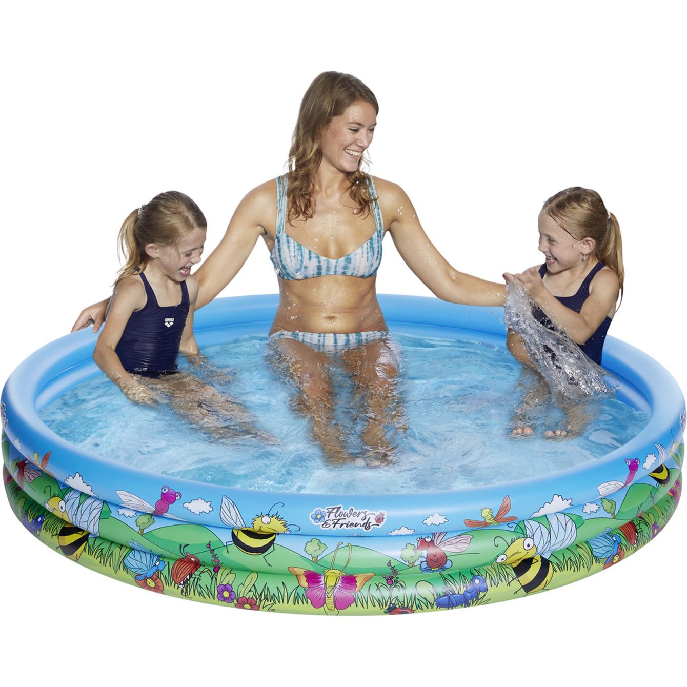 Opblaasbaar familiezwembad rond blauw/bloemen voor kinderen/volwassenen 178 x 30 cm -