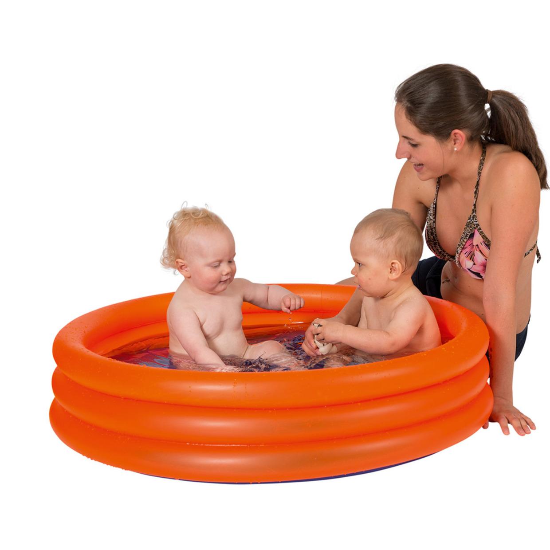 Opblaasbadje rond oranje voor kinderen 122 x 23 cm -
