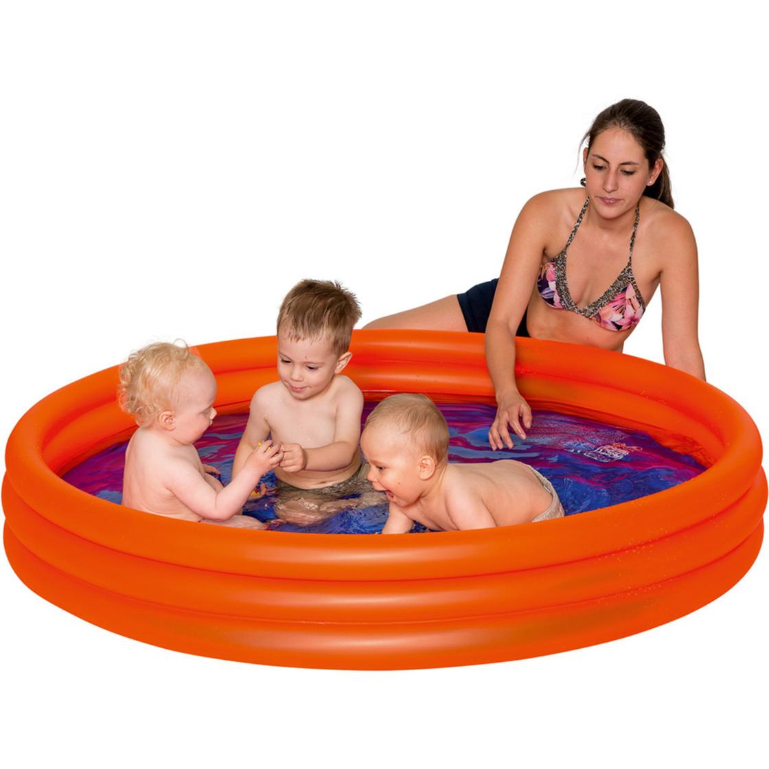 Opblaasbadje rond oranje voor kinderen 157 x 28 cm -