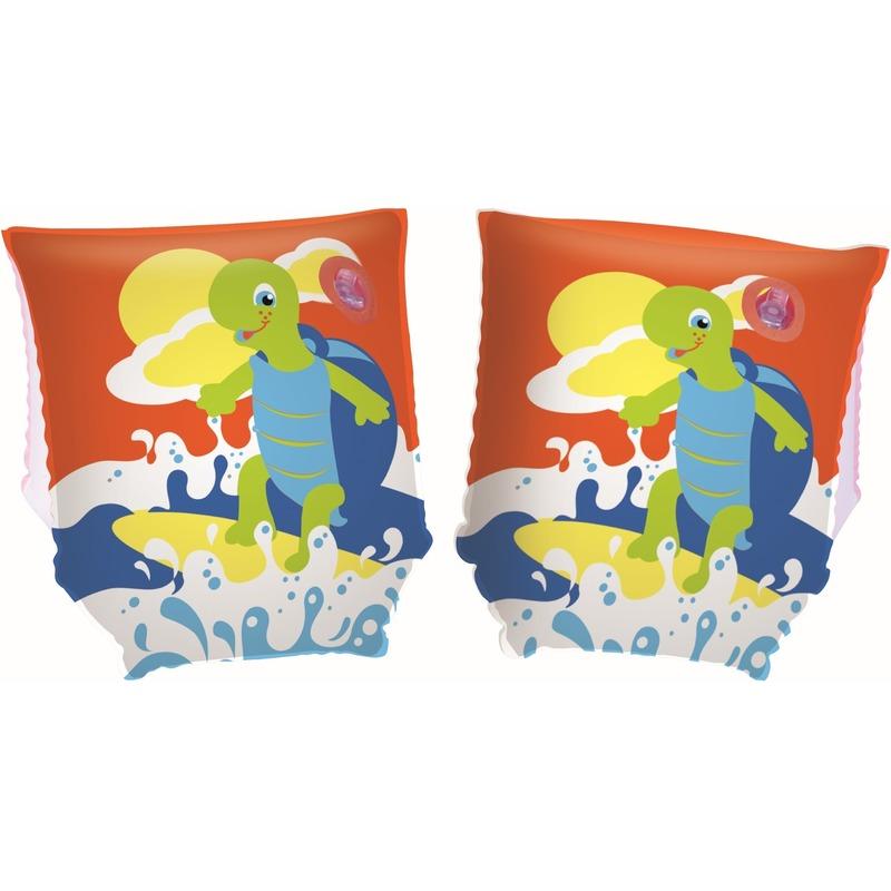 Opblaasbare oranje zwemvleugels met schildpad voor kinderen -