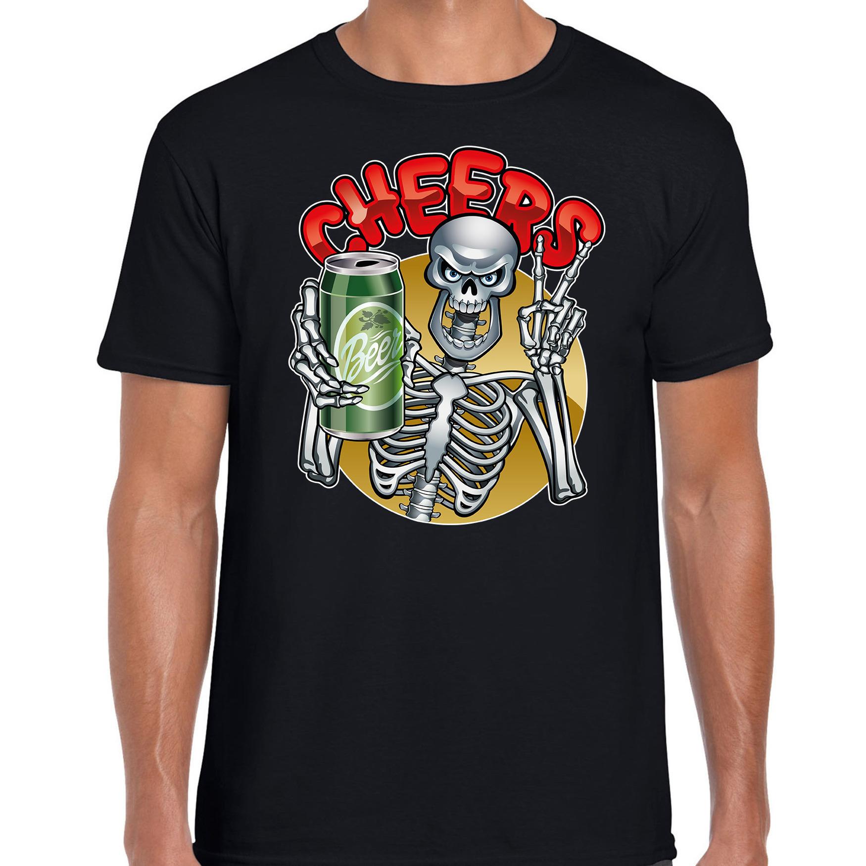 Proostend skelet horror shirt zwart voor heren