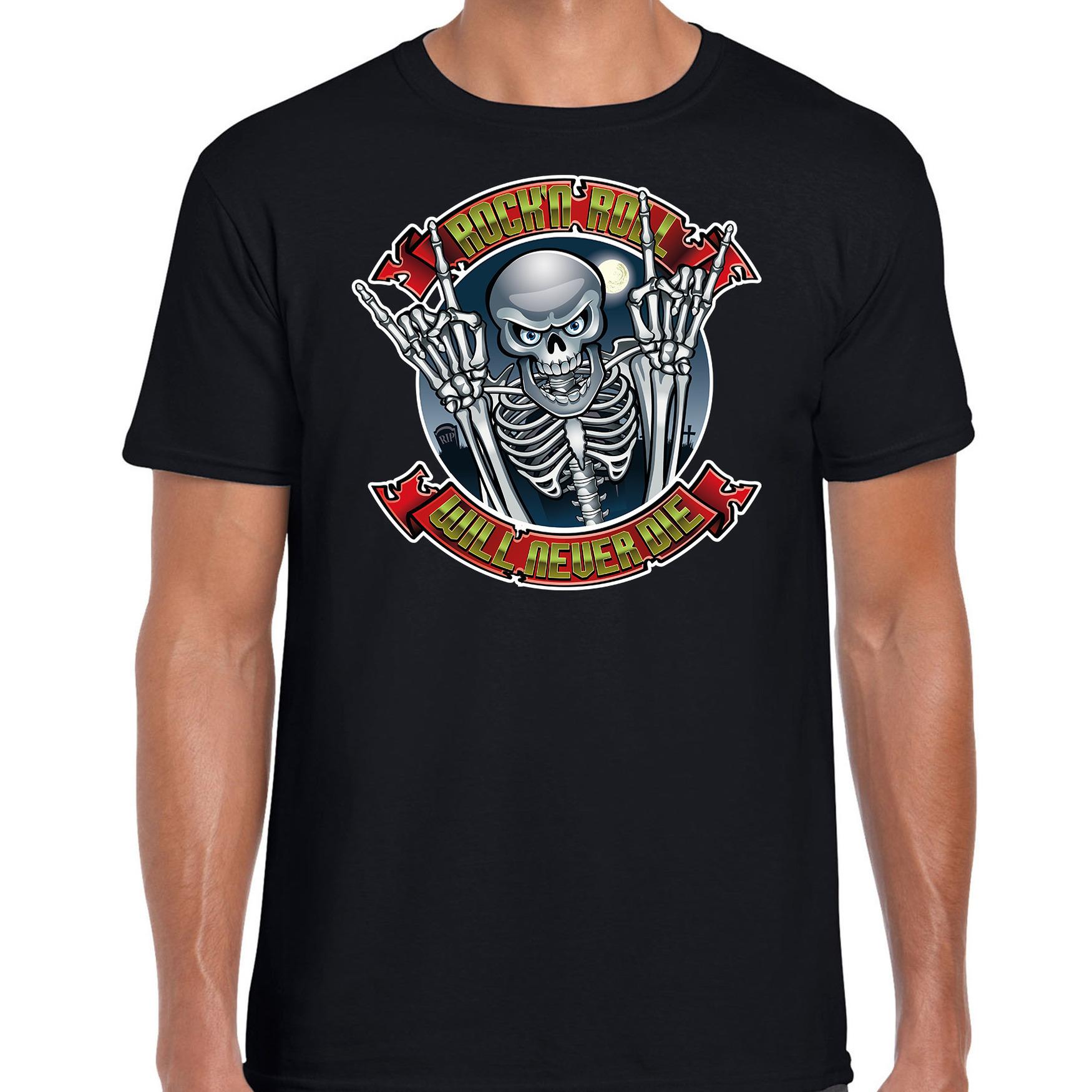 Rock en roll skelet horror shirt zwart voor heren