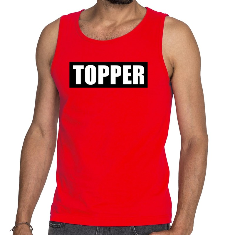 Rode tanktop - mouwloos shirt heren met tekst Topper in zwarte balk