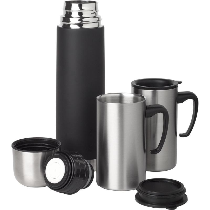 RVS Isoleerfles/thermosfles 0.5 liter set met 2 thermosbekers -
