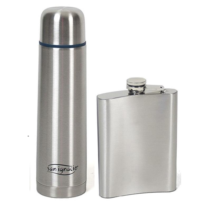 RVS thermosfles / isoleerfles 1 liter met zakflesje/drankflacon -