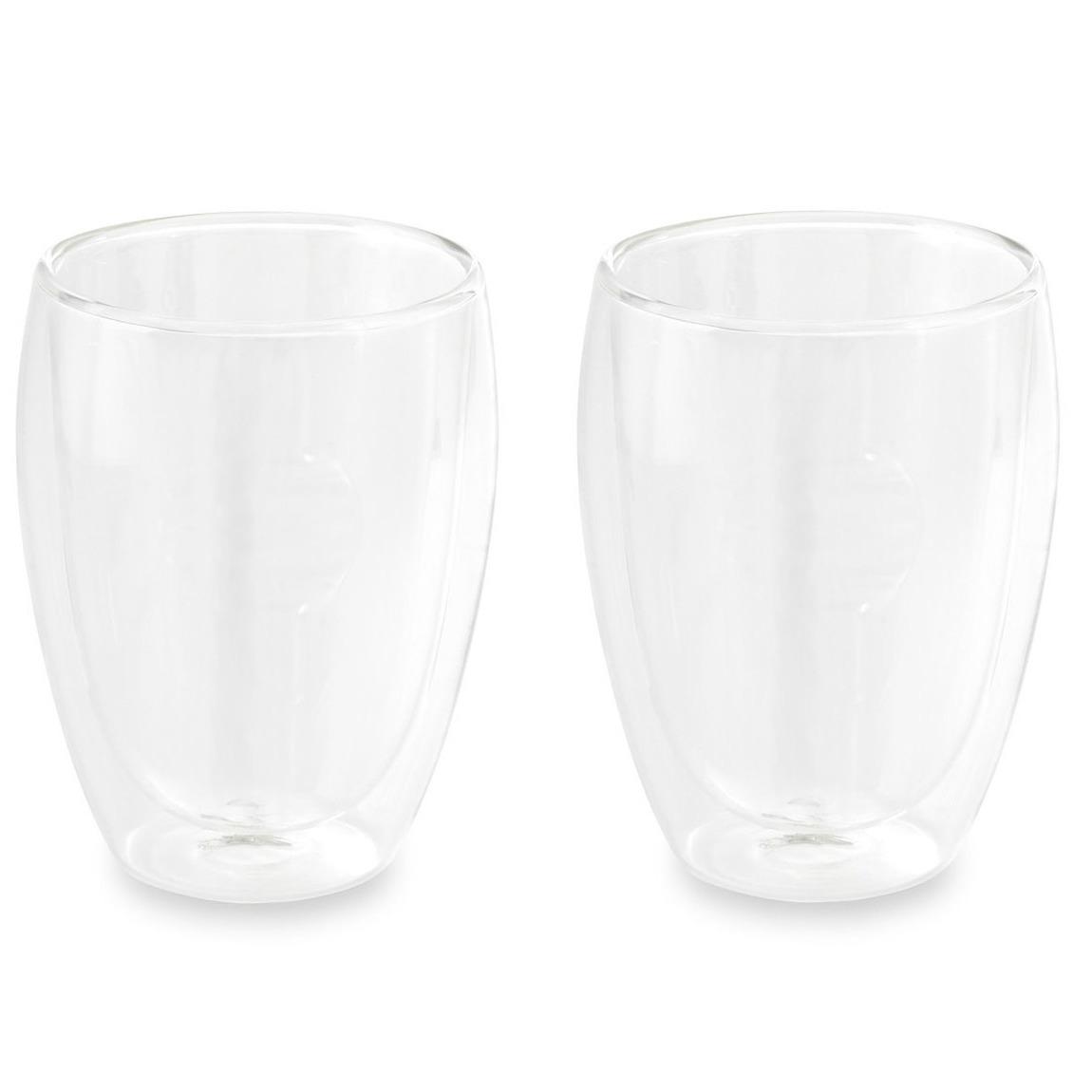 Set van 2x dubbelwandige glazen 350 ml transparant