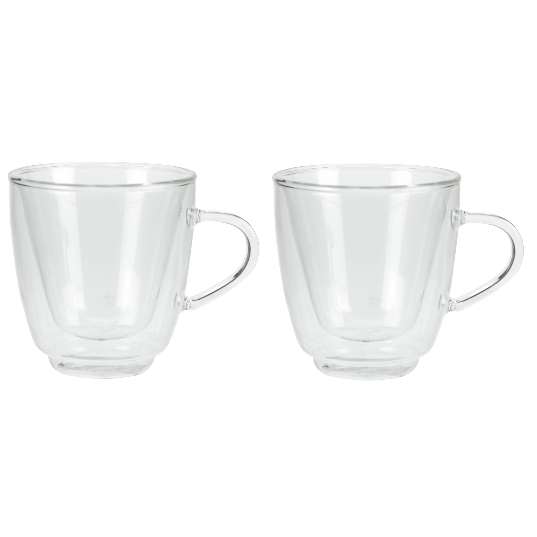Set van 2x Koffie/espresso glazen dubbelwandig 160 ml - transparant -