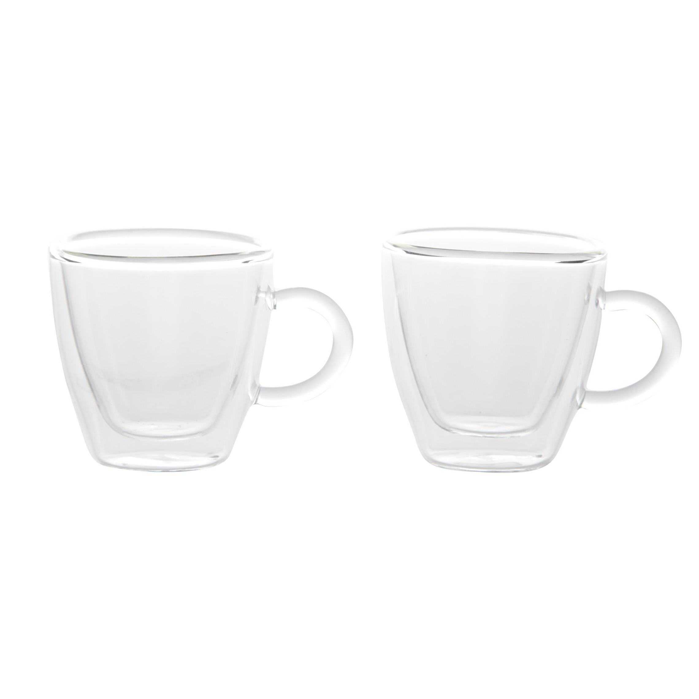 Set van 2x Koffie/espresso glazen dubbelwandig 60 ml - transparant -