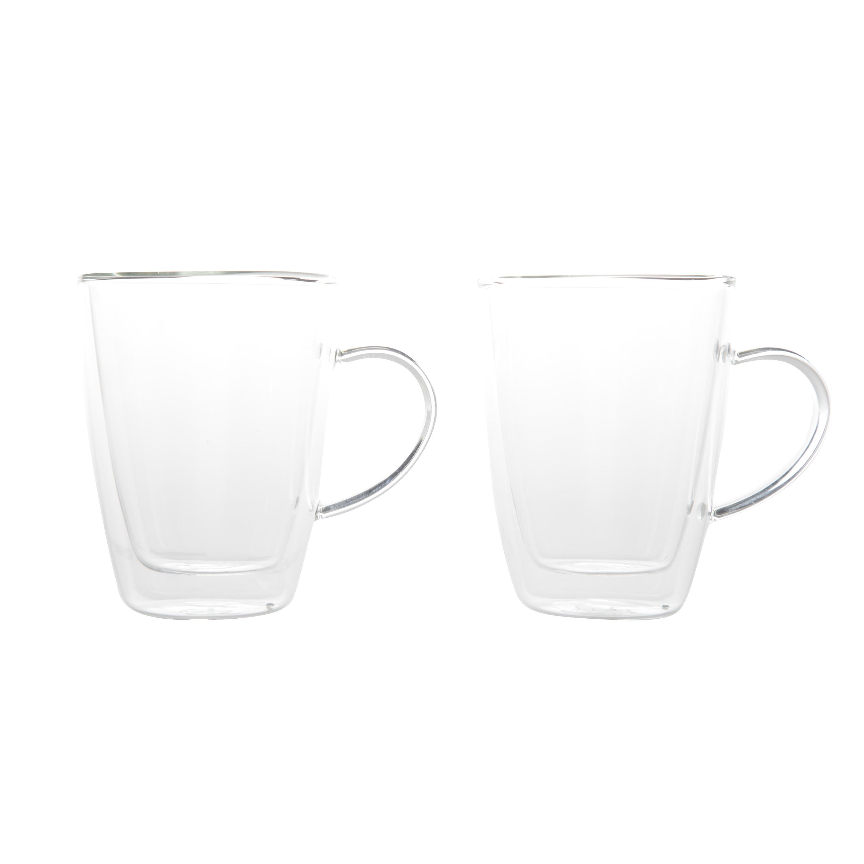 Set van 2x koffie/thee glazen dubbelwandig 250 ml - transparant -