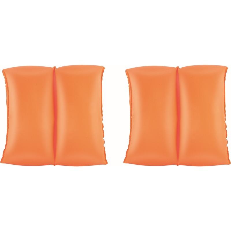 Set van 2x opblaas oranje zwembanden/zwemmouwen voor kinderen -