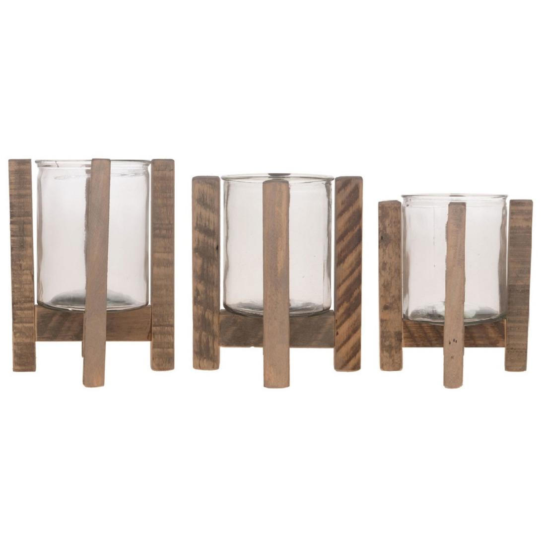 Set van 3x kaarsenhouders voor theelichtjes/waxinelichtjes op houten standaard 17,5/21/24.5 cm -
