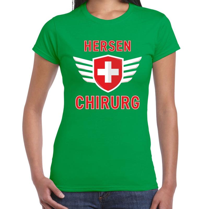 Specialist hersen chirurg verkleed shirt carnaval groen voor dames