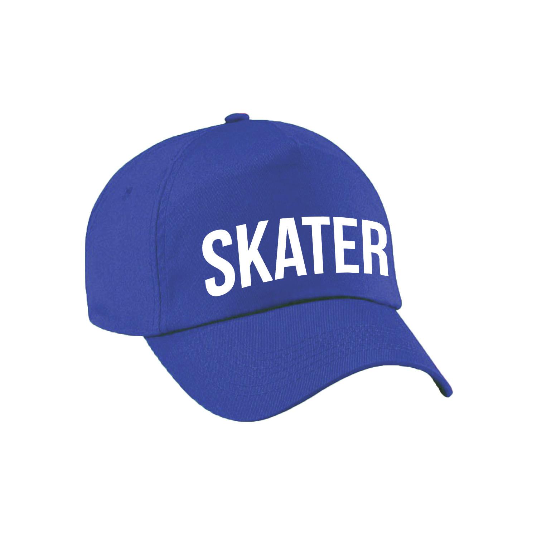 Stoere Skater pet blauw voor meisjes en jongens -