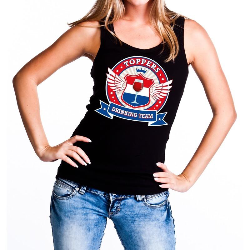 Toppers drinking team tanktop - mouwloos shirt zwart dames