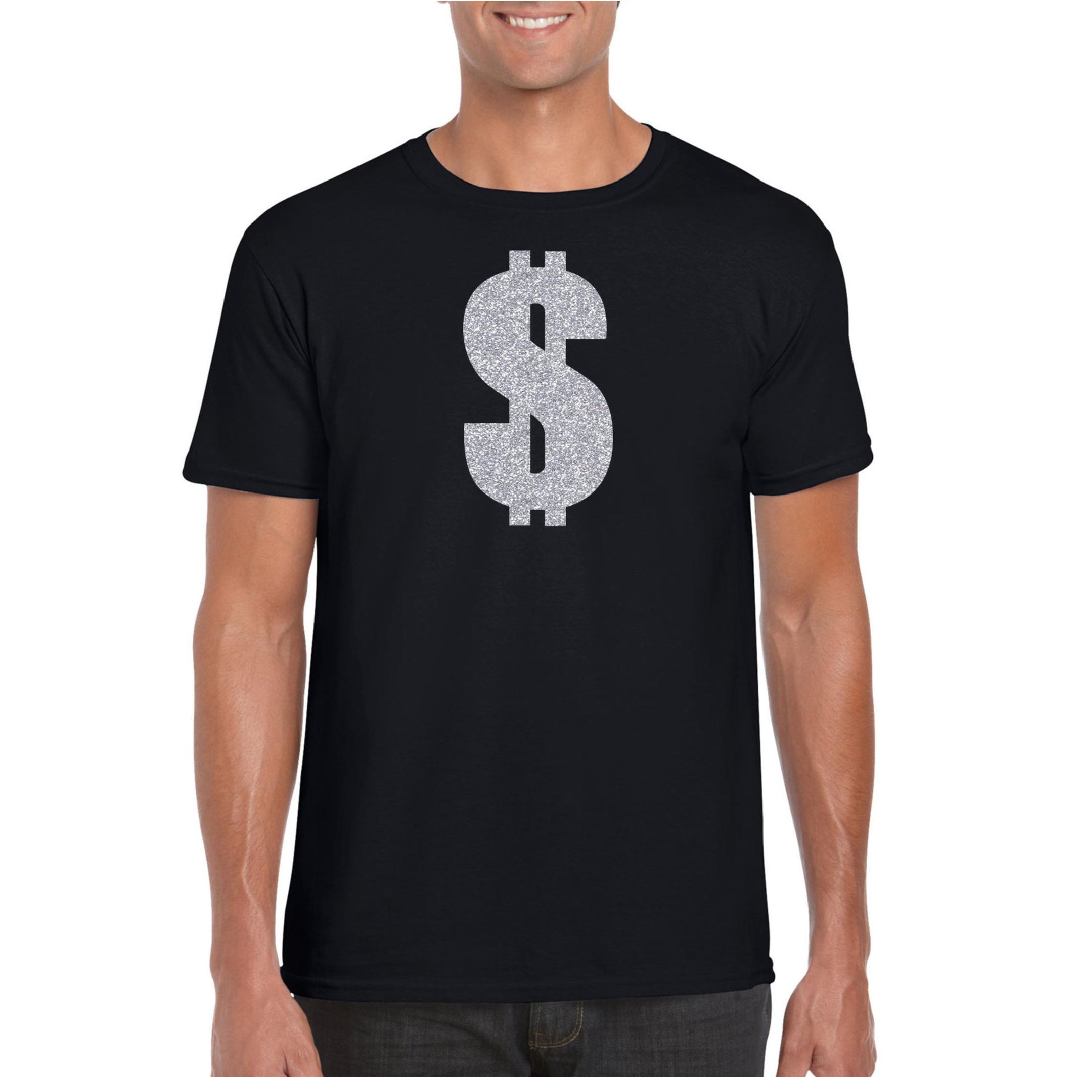 Verkleedkleding gangster - zilveren dollar t-shirt zwart voor heren