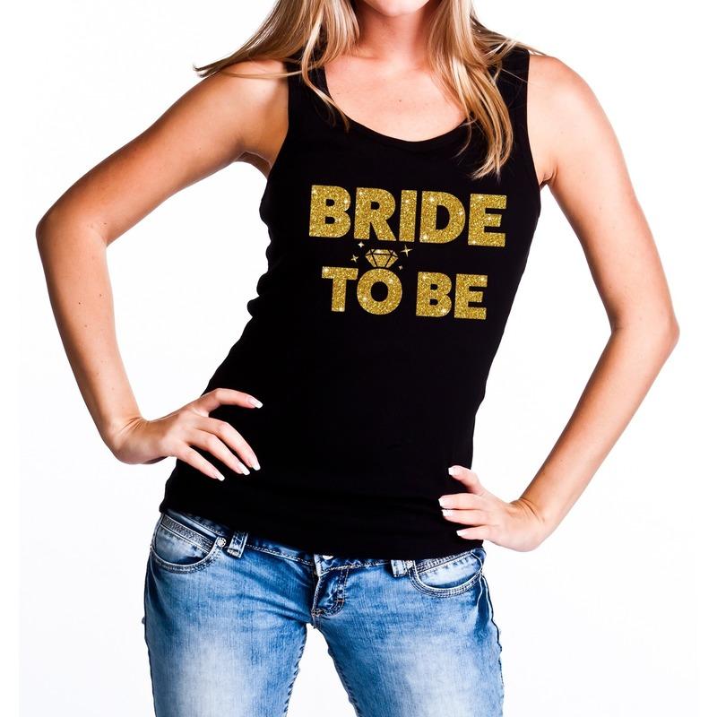 Vrijgezellenfeest Bride to be tanktop glitter voor de bruid zwart dames