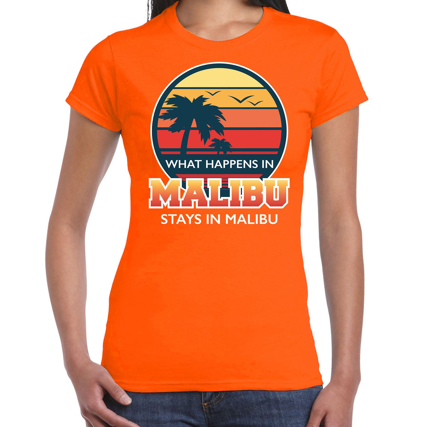 What happens in Malibu stays in Malibu shirt beach party - vakantie outfit - kleding oranje voor dam