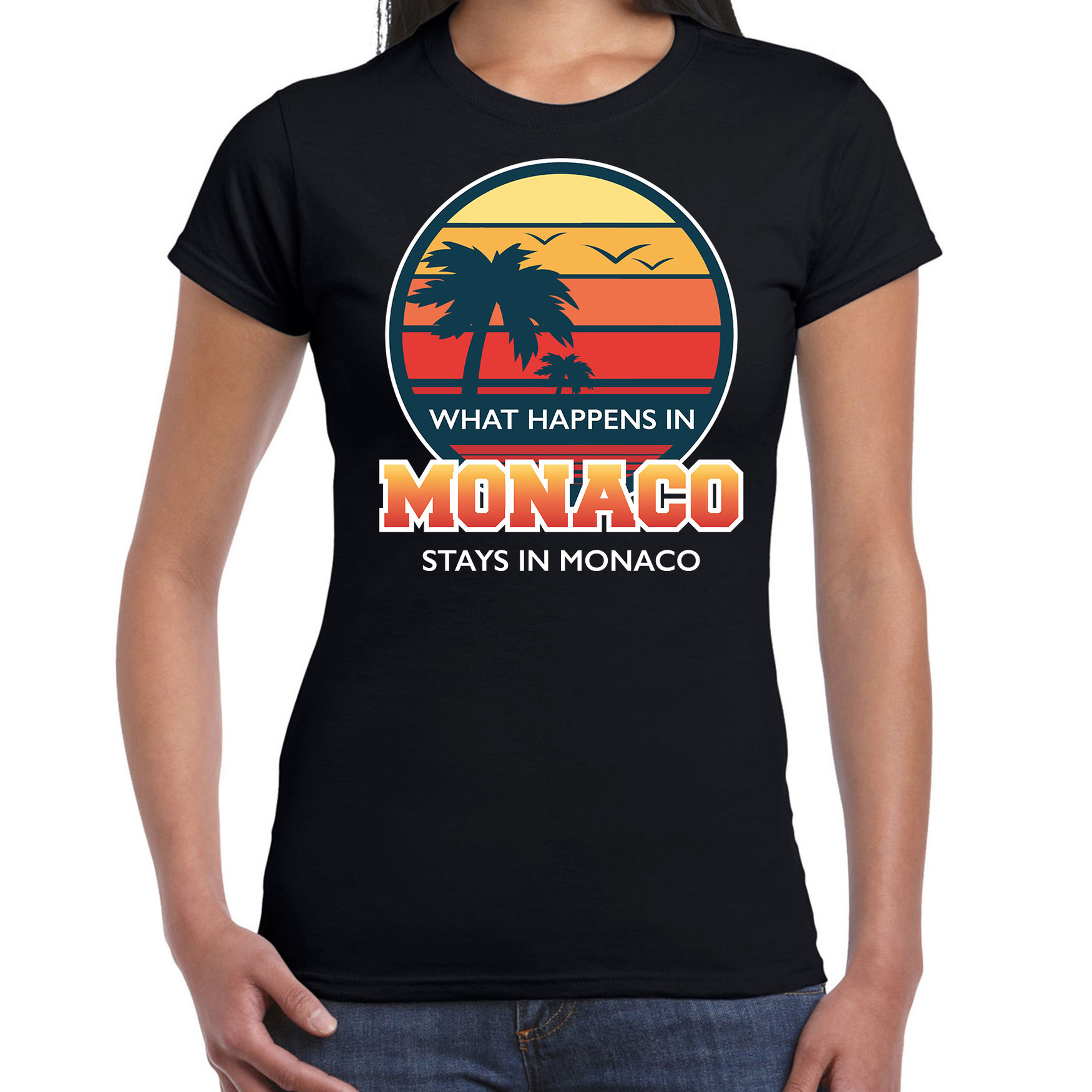 What happens in Monaco stays in Monaco shirt beach party - vakantie outfit - kleding zwart voor dame